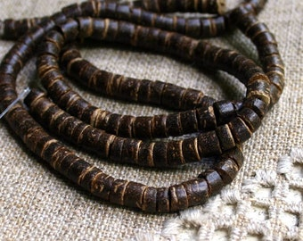 Bead Coconut 4-5mm Heishi Brown 24-inch Strand Wood Shell
