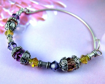 EASTER pink, purple and gold bracelet, swarovski crystal sterling silver bangle, passover pink, purple, yellow jewelry