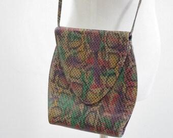 Vintage 80s Purse, Faux Snakeskin Shoulder Bag, Cross Body Bag, Grunge Purse, Funky Purse, Flap Bag, 1980s Handbag, Faux Purse