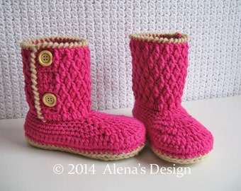 Crochet Pattern 114 for Two-Button Children's Boots - Crochet Boot Pattern - Boot Crochet Pattern - Crochet Slipper Pattern - Winter Boots