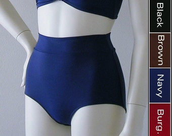 High Waisted Bikini Bottom with Banded Waist in Black, Navy, Burgundy or Brown in S-M-L-XL