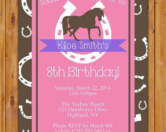 Horse Birthday Invitation Horse Riding Invite Lucky Horseshoe Western Pink Brown Purple Party Printable Digital JPG File 5x7 (153)