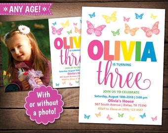Butterfly Party Invitation - Butterfly Birthday Party - Butterfly Birthday invitation - Rainbow Butterfly Invitation - Butterfly Invite
