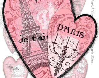 Coeurs de Paris Collage feuille - parfait pour la Saint Valentin - téléchargement immédiat - Digital Télécharger - Shabby Chic rose noir et blanc