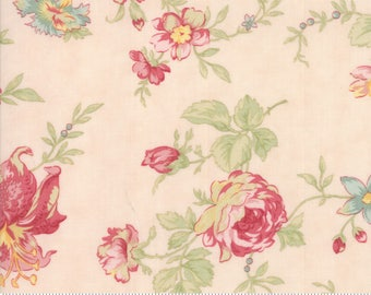 """44"""" COATED COTTON Poetry flowers on light pink from Moda Fabrics"""
