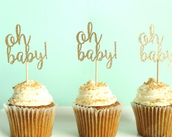 Oh Baby Cupcake Toppers - Baby Shower Cupcake Toppers - Gender Neutral Cupcake Toppers - Gender Reveal Cupcake Topper - Gender Neutral Decor