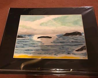 A4 Original acrylic art, seascape, modern art, art decor blue grey