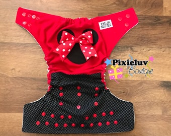 Minnie Mouse Black and Red One Size Cloth Diaper, Pocket Diaper - Removable Bow (Photoshoot or Daily Use)