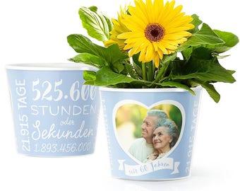 Diamantene Hochzeit Blumentopf (ø16cm)   Geschenk oder Deko zum 60. Hochzeitstag mit Herz-Bilderrahmen für ein Foto (10x15cm)