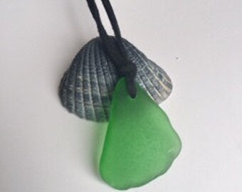 Sea Glass Necklace, SeaGlass Jewelry, Faux Suede Necklace, Adjustable Necklace, Sea Glass Necklace, Beach Jewelry, Gift for Mom, Beach Glass