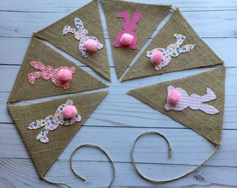 Fabric Bunny Burlap Easter Banner with Pink Pom Pom Tail