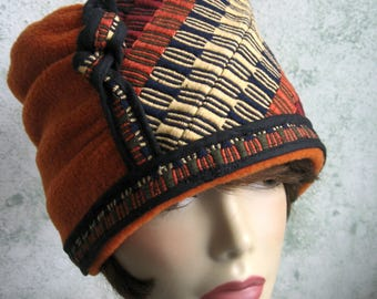 Womens Hat Pattern Bucket Style Hat With Close Fitted Brim Jacquard Weave And Rust Fleece Fabric Pattern In 2 Sizes 21-23 Instant Download