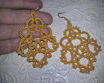 """tatting jewelry Lace earrings """"Freedom""""   Earrings  Chandelier Earrings  gift for her  lace jewelry  bridesmaid earrings"""
