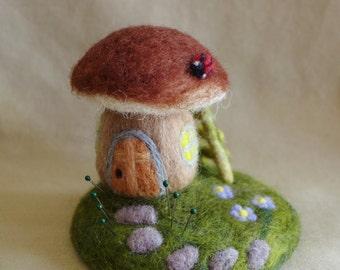 Needle felted enchanted mushroom house pin cushion