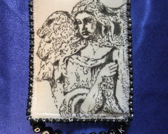 Tiny Art Quilt ATC Doctor Who Inspired Weeping Angel with Letter Beads read DON'T BLINK Black and White