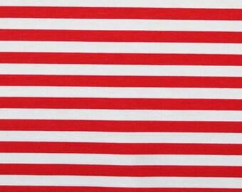"""Red stripes 1/2"""" 1 yard cotton lycra knit CL"""