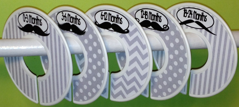 Custom Baby Closet Dividers - Modern Baby Mustaches Grey CD523 - Baby Stache - Baby Boy Shower Gift Nursery - Infant Christmas