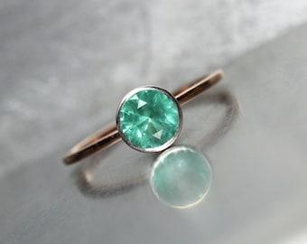 Delicate Modern Colombian Emerald Engagement Ring Platinum 14K Rose Gold Minimalistic Bridal Band Blue-Green Genuine Gem - Beauteous Beryl