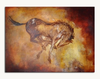 Original Painting Horse Kicking Large Earthy Art Sale