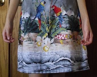Hawaiian island tropical palm tree sleeveless tank shift dress parrot S-M