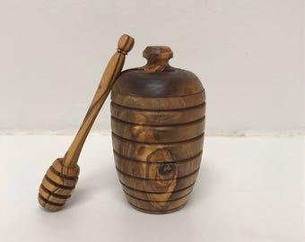 Olive Wood Honey Pot w/ Dipper