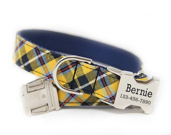 Personalized Tartan Dog Collar, Personalized Dog Collar, Plaid Blue and Yellow,  The Harvard