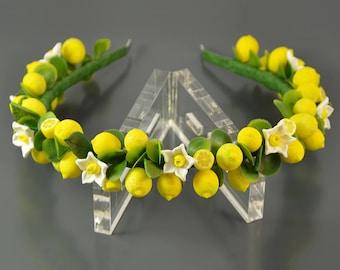 Lemon headband - Polymer clay jewelry - Hair jewelry - Gift for girlfriend - Handmade jewelry - Yellow citrus jewellery