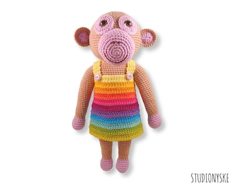 PATTERN crochet doll, amigurumi monkey MOM, stuffed toy rainbow dress pdf