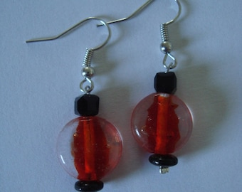 Earrings red and black glass bead