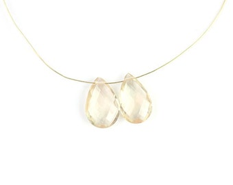Oregon Sunstone Faceted Pear Briolette Matched Set 13 MM Peach Schiller Plush Semi Precious Gemstone