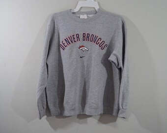 90s NIKE Denver Broncos NFL Football Spell Out Crewneck Sweater Mens Large Gray, Vintage Denver Broncos Sweater, Vintage Football Sweater
