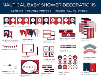 Printable Party Pack - Nautical Baby Shower - Nautical Party Pack - Nautical Theme - Boy Baby Shower