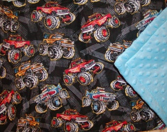 Travel Changing pad..Monster Trucks N Blue Minky..Add to diaper bag. Add Name. Match your carseat canopy(see fashionfairytales).