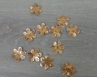 Sequin golden flowers set of 10