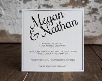 Wedding Invitation, Square Wedding Invitation, Formal Invitation -Formal Square Wedding Suite : 5.5in Square Wedding Invitations