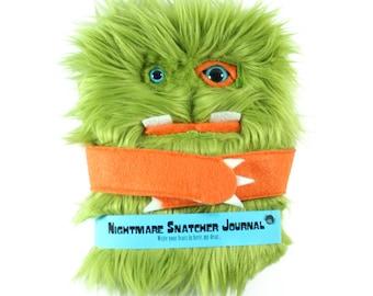 Nightmare Snatcher children's fuzzy magical journal, green orange monster book Swampmop