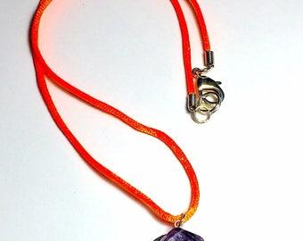 "20"" Orange Satin Corded Amethyst Gemstone Pendant Necklace"