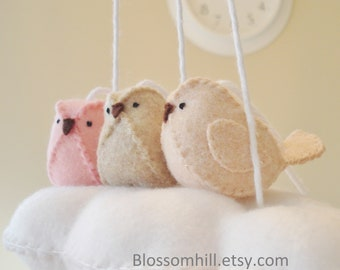 Modern nursery decor. pink and peach baby mobile - cloud and birds