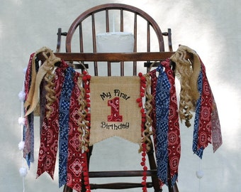 COWBOY/Rodeo (Red) Bandana Birthday Banner-1st Birthday HIGH CHAIR Banner-Birthday Banners-Birthday Banner One-Custom Banners-Party Banner