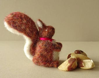 Squirrel ornament, forest animal miniature, red fall decor, autumn themed, needle felted squirrel, wool squirrels