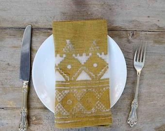 table cloth yellow mustard NAPKINS cotton napkins decor table linen Home organic cotton Yellow tabletop decor SetOf4 - BORDER YELLOW