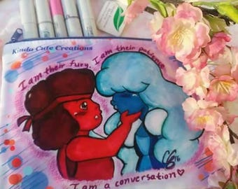 Ruby and Sapphire | Large Cosmetic Bag | 3DS Bag | Pencil Bag | Crystal Gems | Steven Universe | Fanart |
