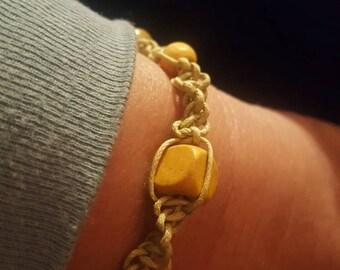 Handmade macrame Hemp rope with wooden beads bracelet