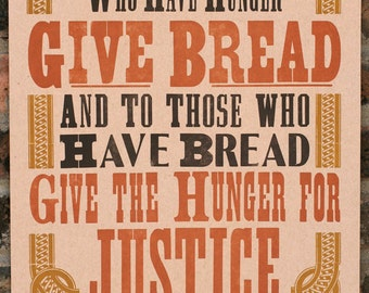 Give Bread letterpress poster