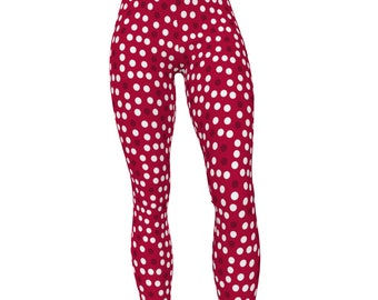 IU Indiana Crimson, Dots Pattern High Waist Women's Yoga Pants