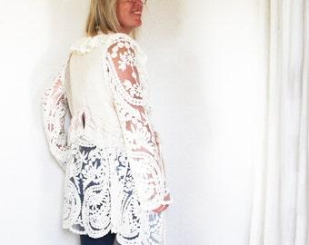 upcycled womens clothing - S - upcycled clothing, sustainable fashion, cardigan, knit jacket . tumbleweed
