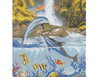 Cross Stitch Pattern Dolphins counted embroidery