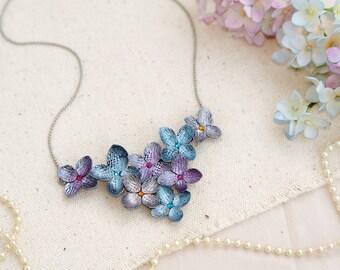 gold hydrangea necklace ,handmade flowers necklace