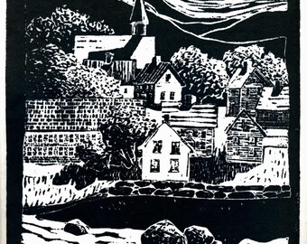 New England Mill Town, Original Linoleum Block Print