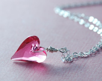 Pink Crystal Heart Necklace Dainty Sterling Silver Jewelry Heart Pendant Sweet 16 Birthday Valentine's Day Jewelry